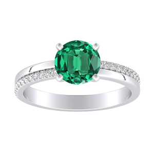 ALISON Classic Green Emerald Engagement Ring In 14K White Gold With 0.30 Carat Round Stone