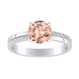 ALISON Classic Morganite Engagement Ring In 14K White Gold With 1.00 Carat Round Stone
