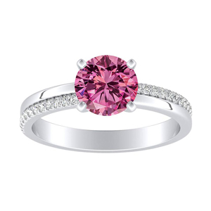 ALISON  Classic  Pink  Sapphire  Engagement  Ring  In  14K  White  Gold  With  0.50  Carat  Round  Stone