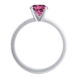 ALISON  Classic  Pink  Sapphire  Wedding  Ring  Set  In  14K  White  Gold  With  0.50  Carat  Round  Stone