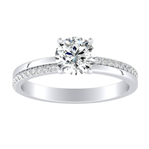 ALISON Classic Moissanite Engagement Ring In 14K White Gold With 0.50 Carat Round Stone