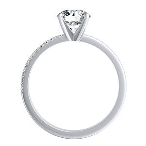 ALISON  Classic  Moissanite  Wedding  Ring  Set  In  14K  White  Gold  With  0.50  Carat  Round  Stone