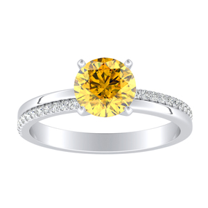 ALISON Classic Yellow Diamond Engagement Ring In 14K White Gold With 0.30 Carat Round Diamond