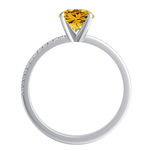 ALISON  Classic  Yellow  Diamond  Engagement  Ring  In  14K  White  Gold  With  0.50  Carat  Round  Diamond