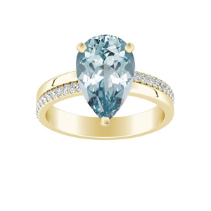 ALISON  Classic  Aquamarine  Engagement  Ring  In  14K  Yellow  Gold  With  1.00  Carat  Pear  Stone