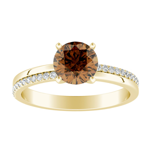 ALISON  Classic  Brown  Diamond  Engagement  Ring  In  14K  Yellow  Gold  With  0.50  Carat  Round  Diamond