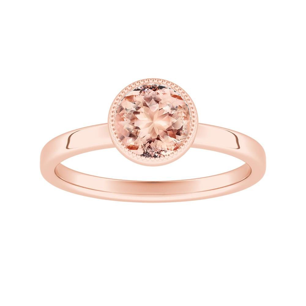 LANA Solitaire Morganite Engagement Ring In 14K Rose Gold With 1.00 Carat Round Stone