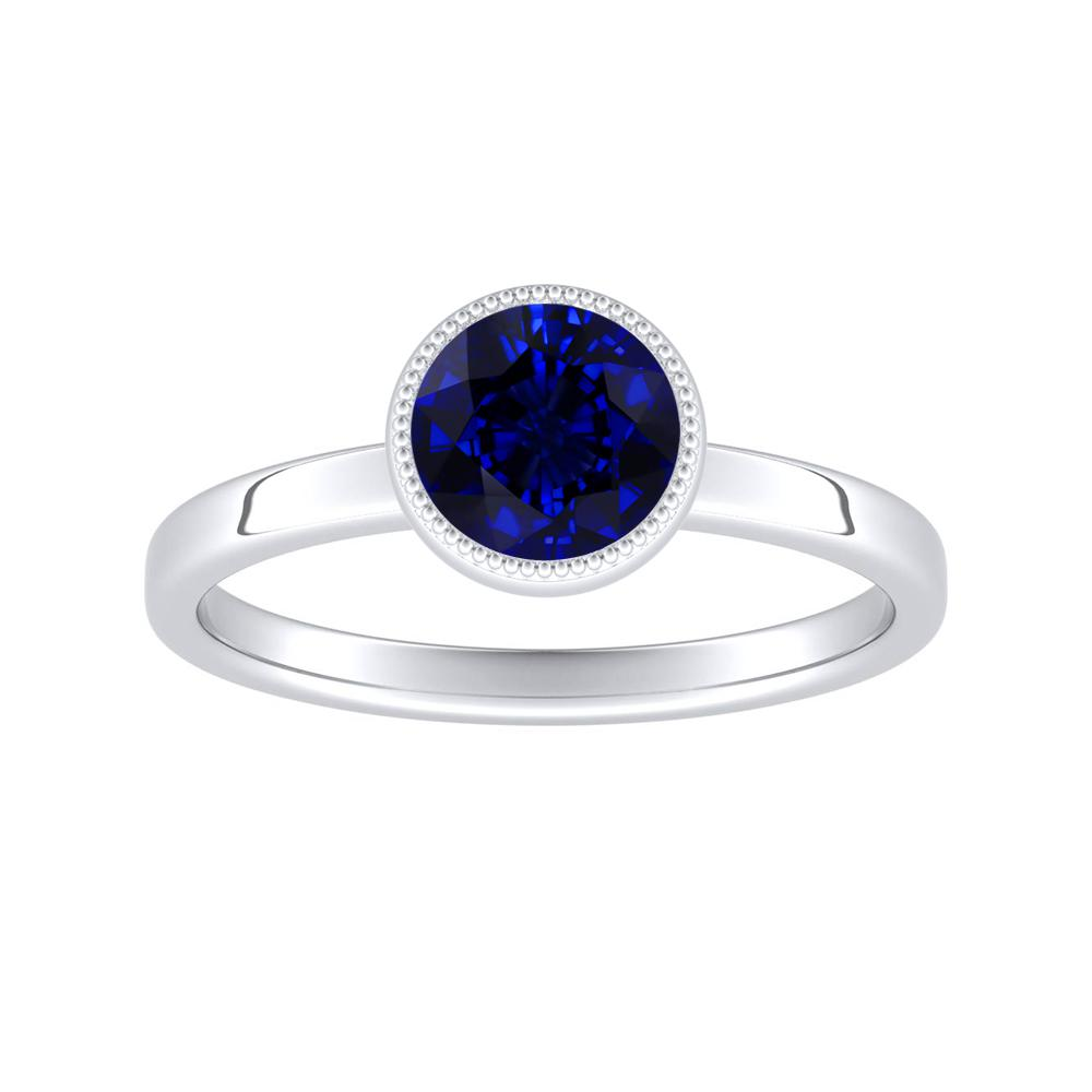 LANA Solitaire Blue Sapphire Engagement Ring In 14K White Gold With 0.30 Carat Round Stone