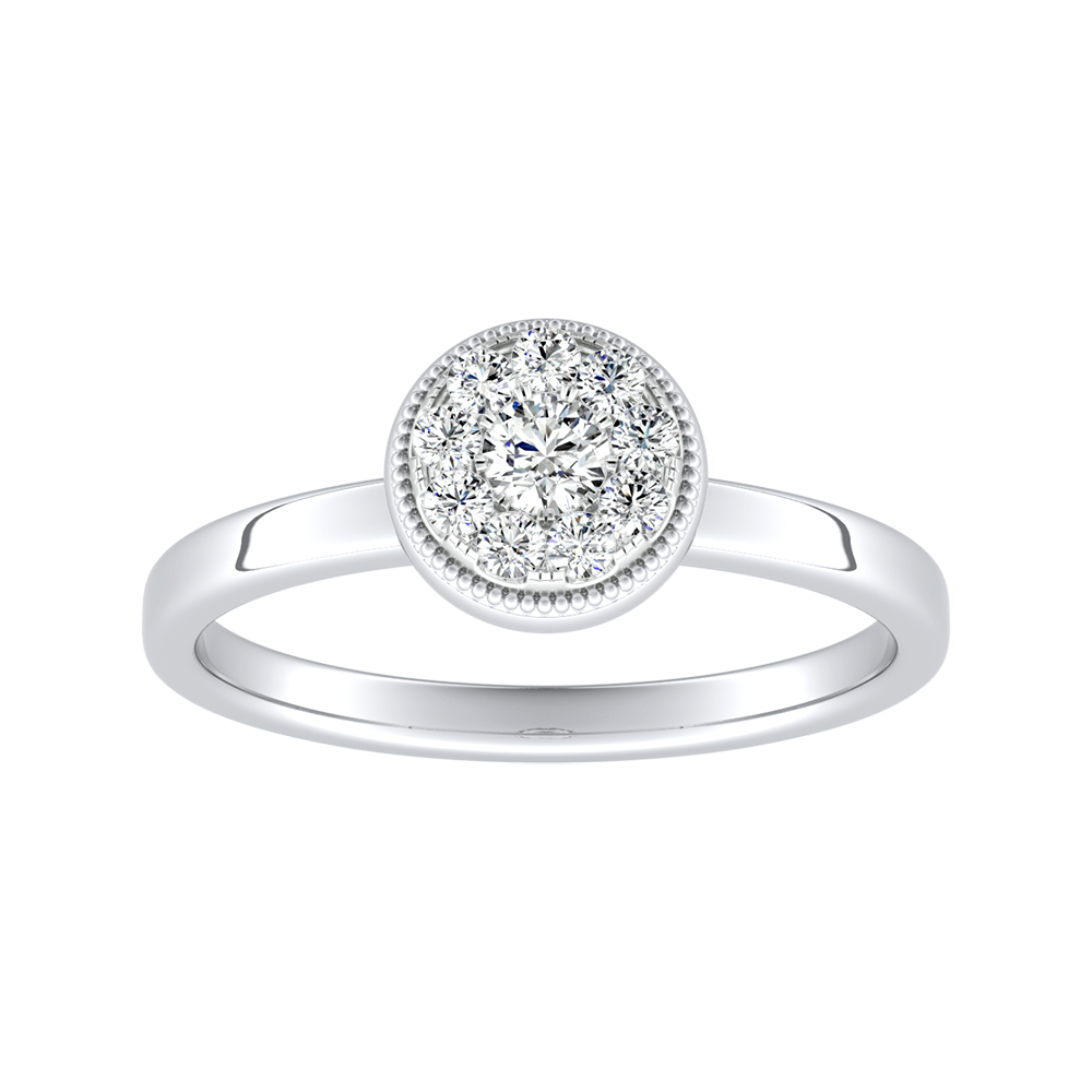 LANA Diamond Engagement Ring In 14K White Gold With Round Diamond In H-I SI1-SI2 Quality