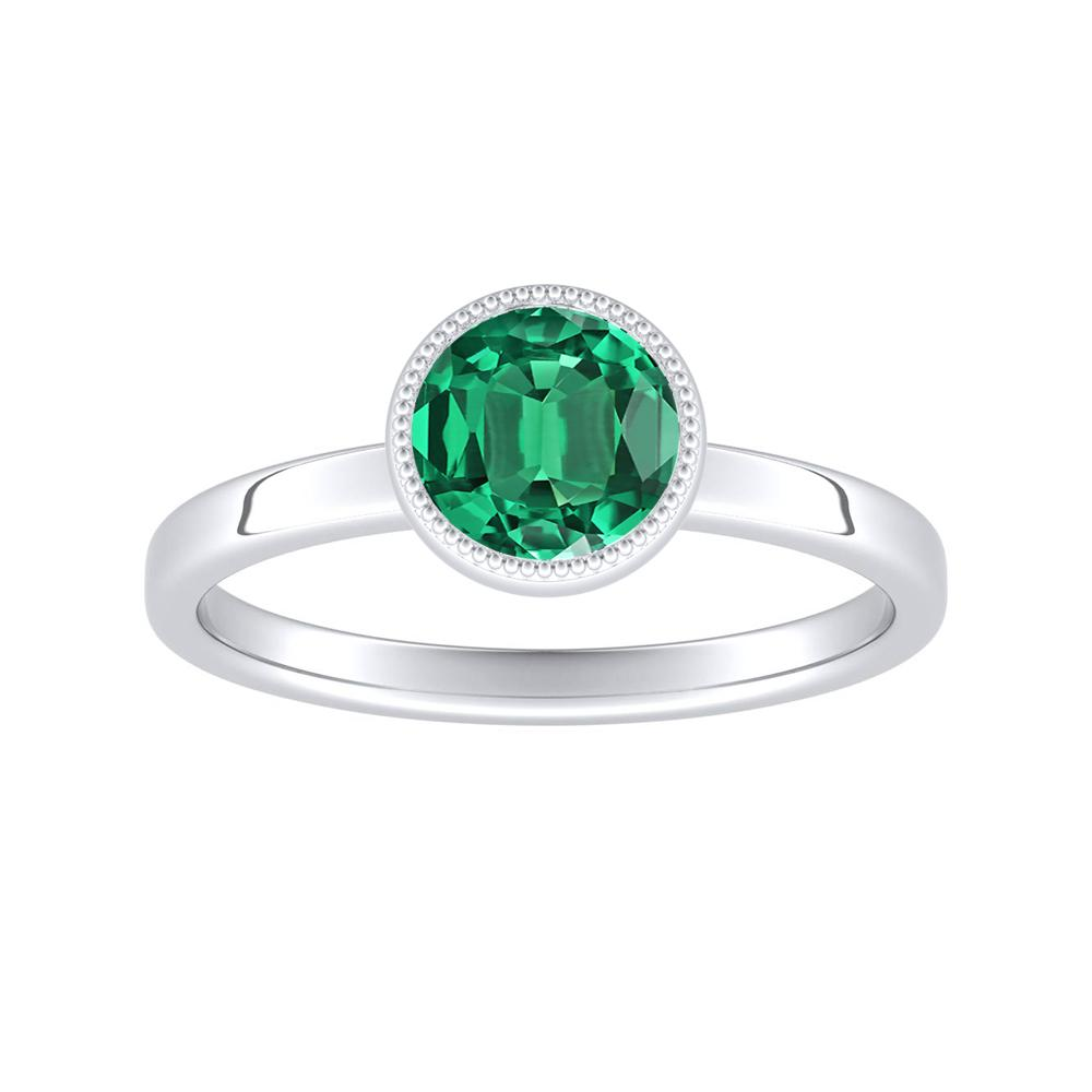 LANA Solitaire Green Emerald Engagement Ring In 14K White Gold With 0.30 Carat Round Stone