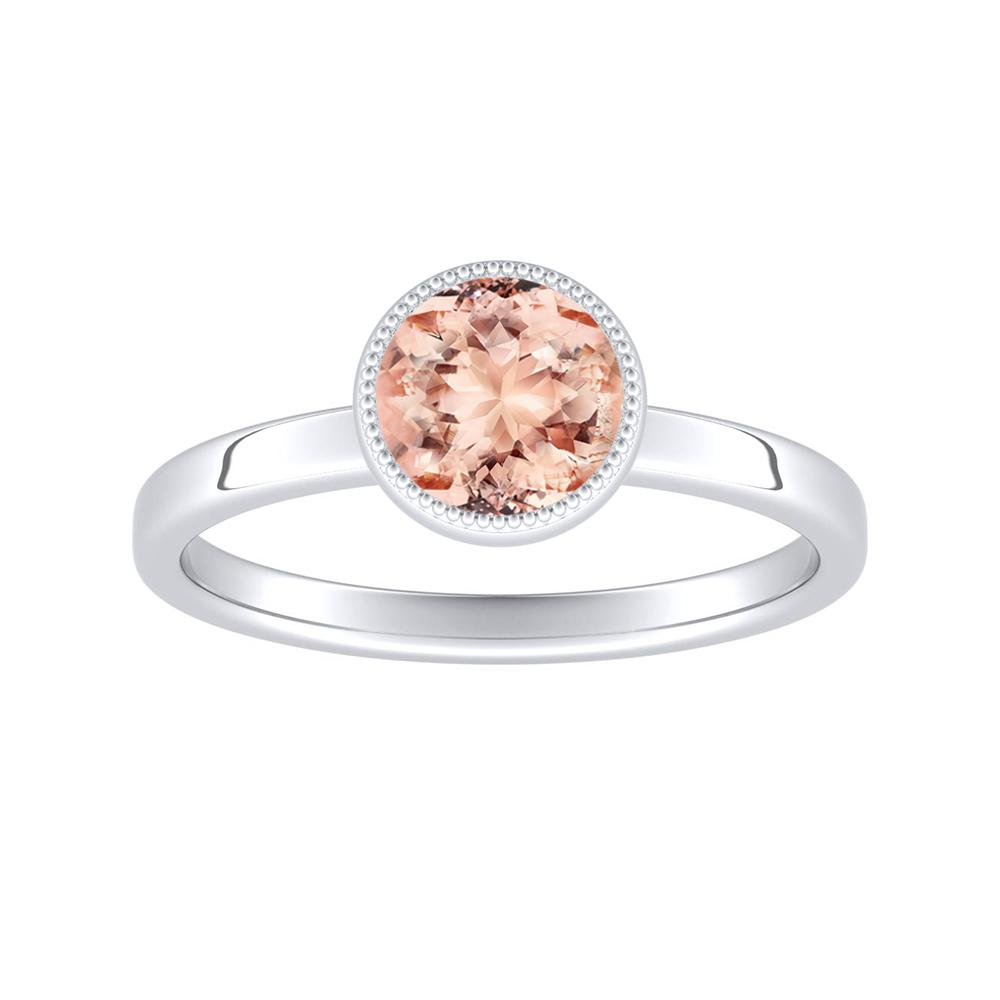 LANA Solitaire Morganite Engagement Ring In 14K White Gold With 1.00 Carat Round Stone