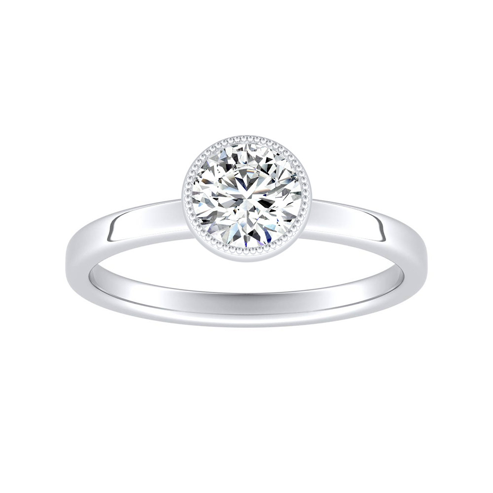 LANA Solitaire Moissanite Engagement Ring In 14K White Gold With 0.50 Carat Round Stone