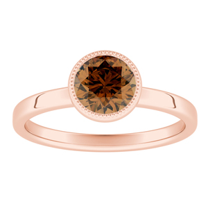 LANA  Solitaire  Brown  Diamond  Engagement  Ring  In  14K  Rose  Gold  With  0.50  Carat  Round  Diamond