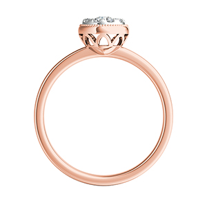 LANA Diamond Engagement Ring In 14K Rose Gold With Round Diamond In H-I SI1-SI2 Quality