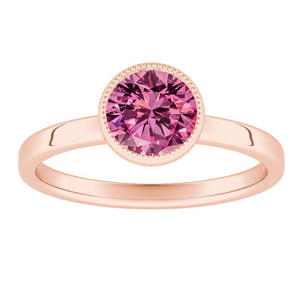 LANA Solitaire Pink Sapphire Engagement Ring In 14K Rose Gold With 0.50 Carat Round Stone
