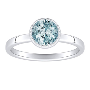 LANA Solitaire Aquamarine Engagement Ring In 14K White Gold With 1.00 Carat Round Stone