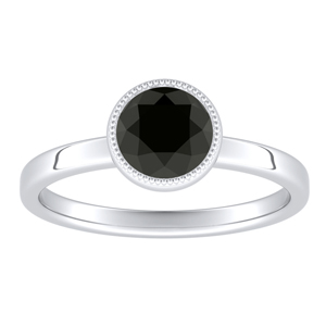 LANA  Solitaire  Black  Diamond  Engagement  Ring  In  14K  White  Gold  With  1.00  Carat  Round  Diamond