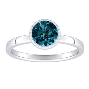 LANA Solitaire Blue Diamond Engagement Ring In 14K White Gold With 0.30 Carat Round Diamond