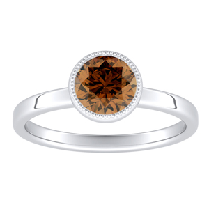 LANA Solitaire Brown Diamond Engagement Ring In 14K White Gold With 0.30 Carat Round Diamond