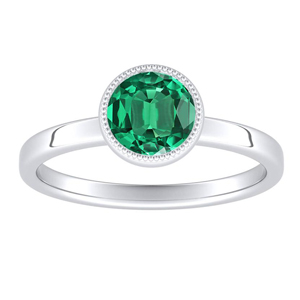 LANA  Solitaire  Green  Emerald  Engagement  Ring  In  14K  White  Gold  With  0.50  Carat  Round  Stone