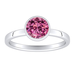LANA  Solitaire  Pink  Sapphire  Engagement  Ring  In  14K  White  Gold  With  0.50  Carat  Round  Stone