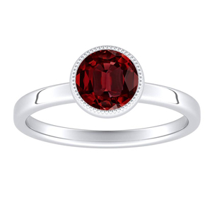 LANA Solitaire Ruby Engagement Ring In 14K White Gold With 0.30 Carat Round Stone