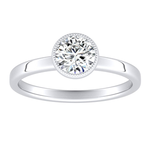 LANA Solitaire Diamond Engagement Ring In 14K White Gold With 0.50ct. Round Diamond