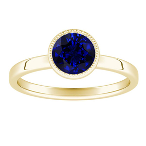 LANA  Solitaire  Blue  Sapphire  Engagement  Ring  In  14K  Yellow  Gold  With  0.50  Carat  Round  Stone