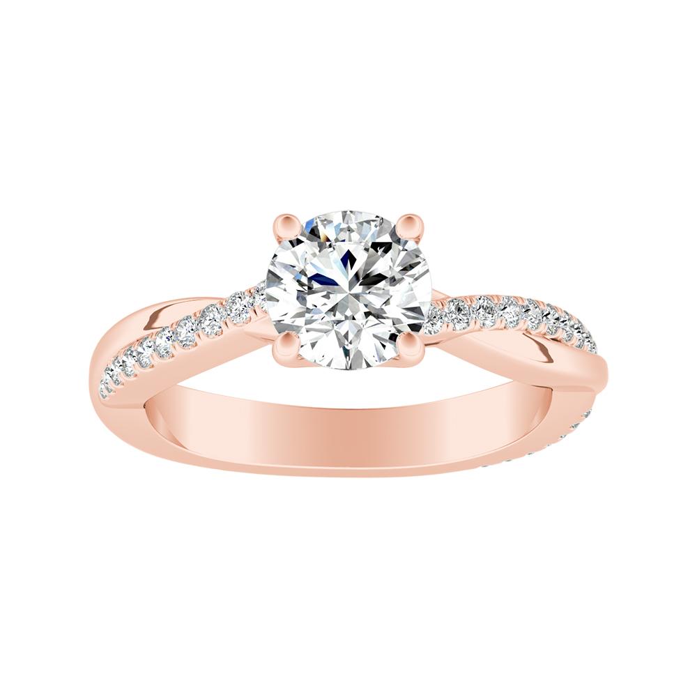 VIOLA Modern Diamond Engagement Ring In 14K Rose Gold