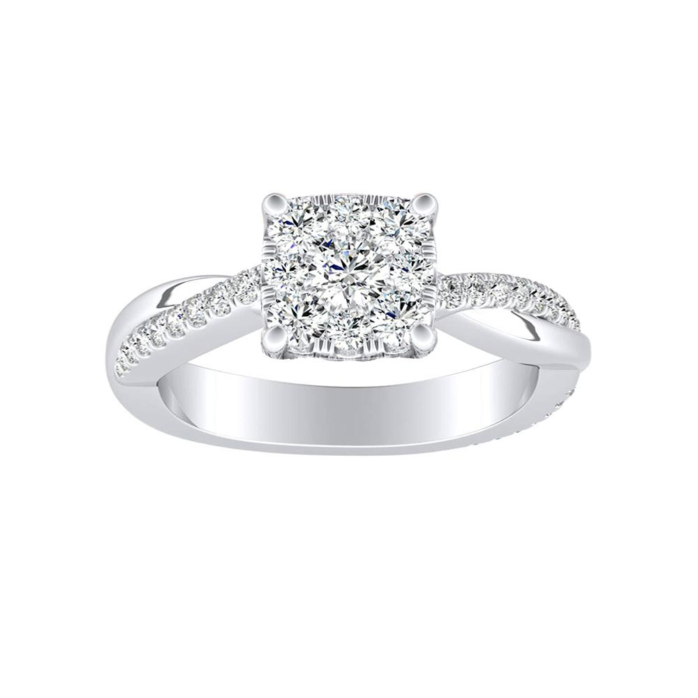 VIOLA Modern Diamond Engagement Ring In 14K White Gold With Cushion Diamond In H-I SI1-SI2 Quality