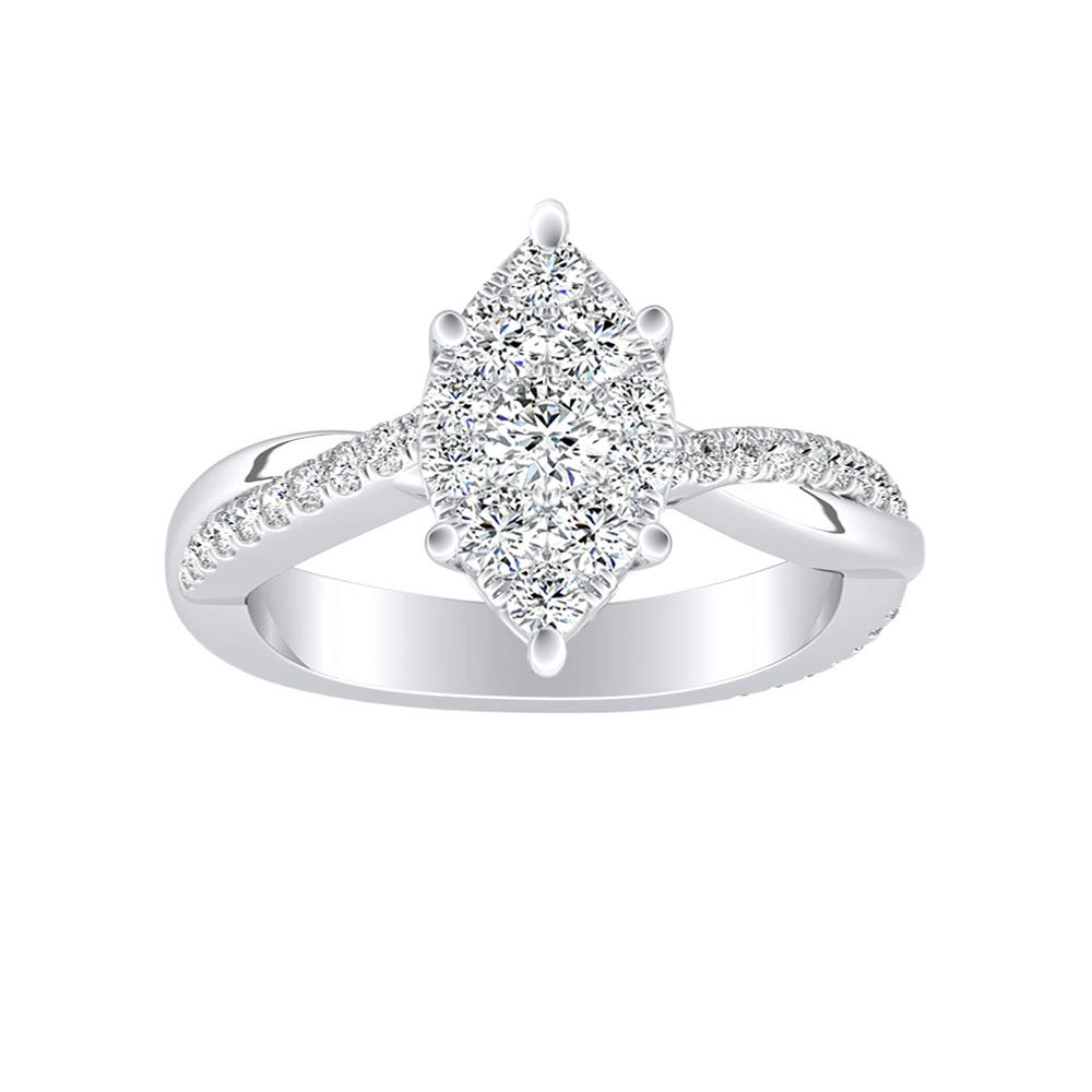 VIOLA Modern Diamond Engagement Ring In 14K White Gold With Marquise Diamond In H-I SI1-SI2 Quality