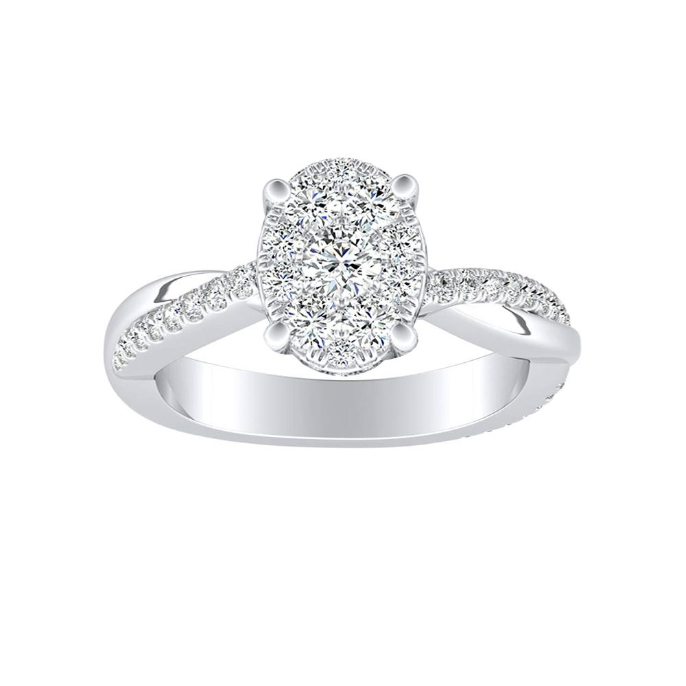 VIOLA Modern Diamond Engagement Ring In 14K White Gold With Oval Diamond In H-I SI1-SI2 Quality