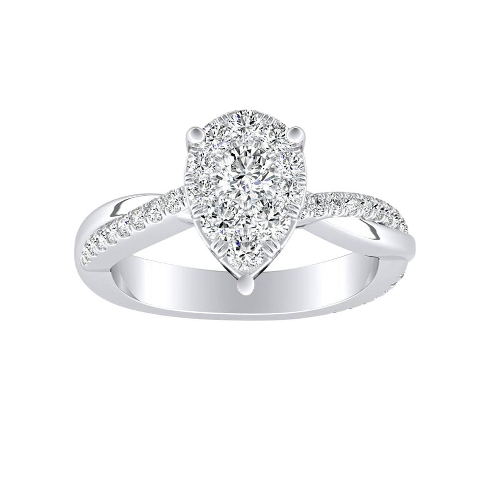 VIOLA Modern Diamond Engagement Ring In 14K White Gold With Pear Diamond In H-I SI1-SI2 Quality
