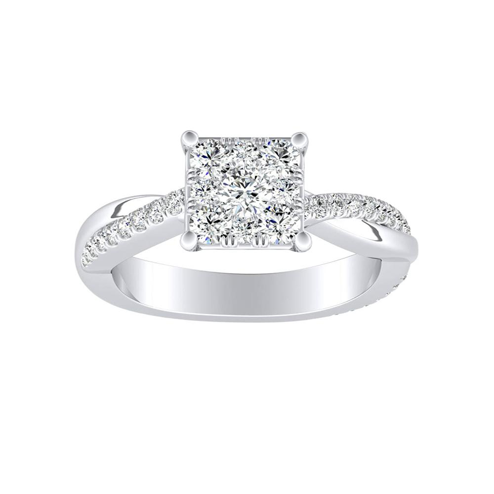 VIOLA Modern Diamond Engagement Ring In 14K White Gold With Princess Diamond In H-I SI1-SI2 Quality
