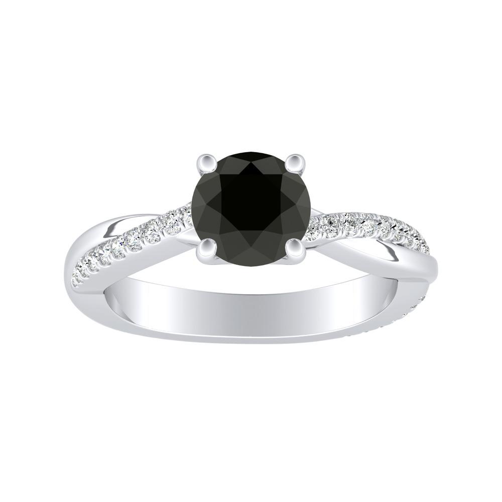 VIOLA Modern Black Diamond Engagement Ring In 14K White Gold With 1.00 Carat Round Diamond
