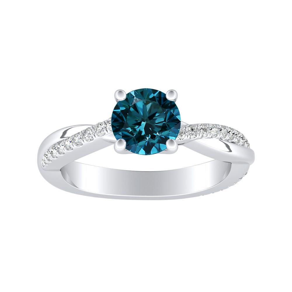 VIOLA Modern Blue Diamond Engagement Ring In 14K White Gold With 0.50 Carat Round Diamond