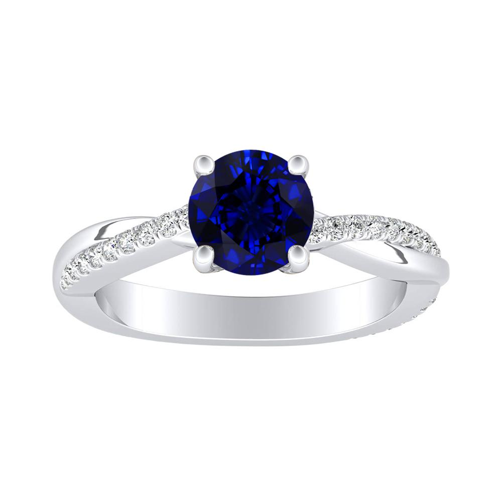 VIOLA Modern Blue Sapphire Engagement Ring In 14K White Gold With 0.30 Carat Round Stone