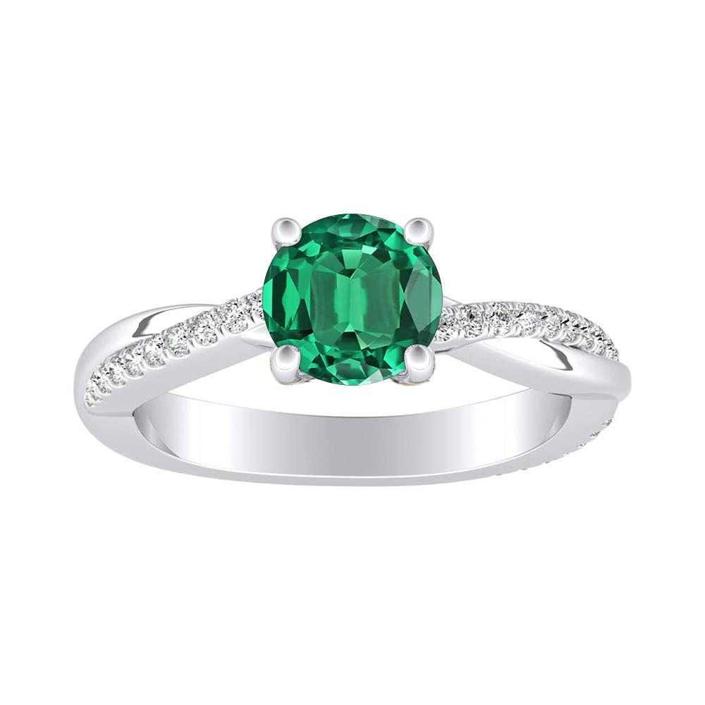 VIOLA Modern Green Emerald Engagement Ring In 14K White Gold With 0.30 Carat Round Stone