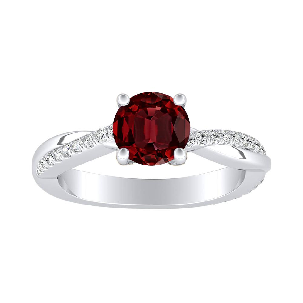 VIOLA Modern Ruby Engagement Ring In 14K White Gold With 0.50 Carat Round Stone