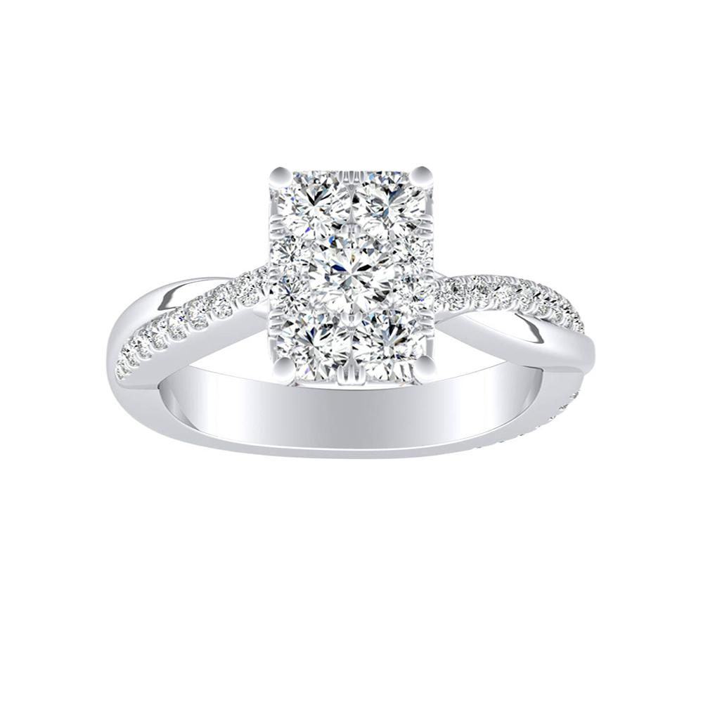 VIOLA Modern Diamond Engagement Ring In 14K White Gold With Radiant Diamond In H-I SI1-SI2 Quality