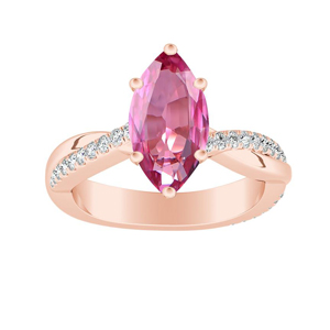 VIOLA  Modern  Pink  Sapphire  Engagement  Ring  In  14K  Rose  Gold  With  0.50  Carat  Marquise  Stone
