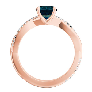 VIOLA  Modern  Blue  Diamond  Engagement  Ring  In  14K  Rose  Gold  With  0.50  Carat  Round  Diamond