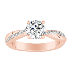 VIOLA  Modern  Moissanite  Engagement  Ring  In  14K  Rose  Gold  With  0.50  Carat  Round  Stone