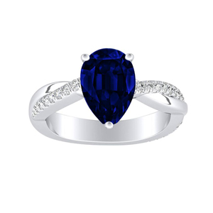 VIOLA  Modern  Blue  Sapphire  Engagement  Ring  In  14K  White  Gold  With  0.50  Carat  Pear  Stone