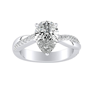 VIOLA Modern Diamond Engagement Ring In 14K White Gold