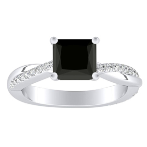 VIOLA  Modern  Black  Diamond  Engagement  Ring  In  14K  White  Gold  With  1.00  Carat  Princess  Diamond