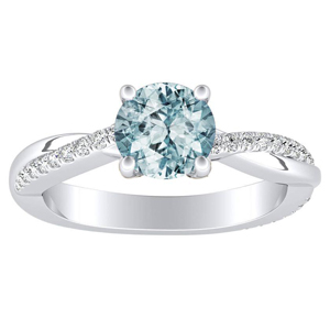 VIOLA Modern Aquamarine Engagement Ring In 14K White Gold With 1.00 Carat Round Stone