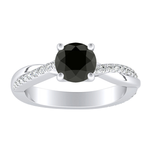 VIOLA  Modern  Black  Diamond  Engagement  Ring  In  14K  White  Gold  With  1.00  Carat  Round  Diamond
