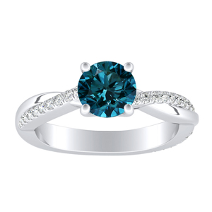 VIOLA Modern Blue Diamond Engagement Ring In 14K White Gold With 0.30 Carat Round Diamond