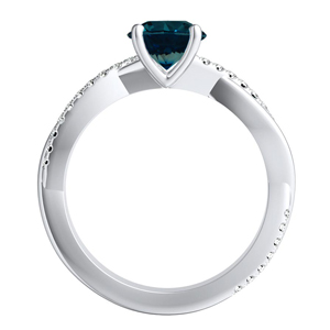 VIOLA  Modern  Blue  Diamond  Engagement  Ring  In  14K  White  Gold  With  0.50  Carat  Round  Diamond